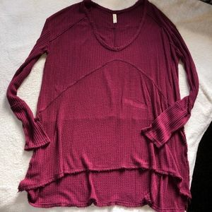 Free People Thermal Sunset Park Top Oversized Sm/M